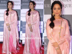 nushrat barucha in pink anarkali at baba siddique iftar bash