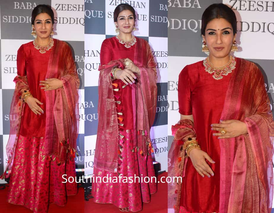 raveena tandon in pink sharara at baba siddique iftar party 2019