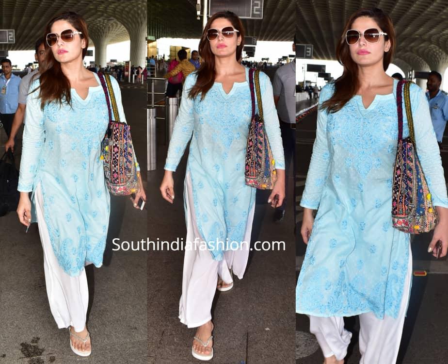 zareen khan airport salwarv kameez