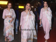 Esha Gupta in a palazzo suit at the airport