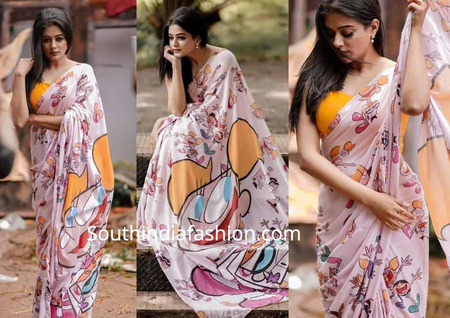 priyamani quirky print saree