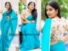 sreemukhi blue saree