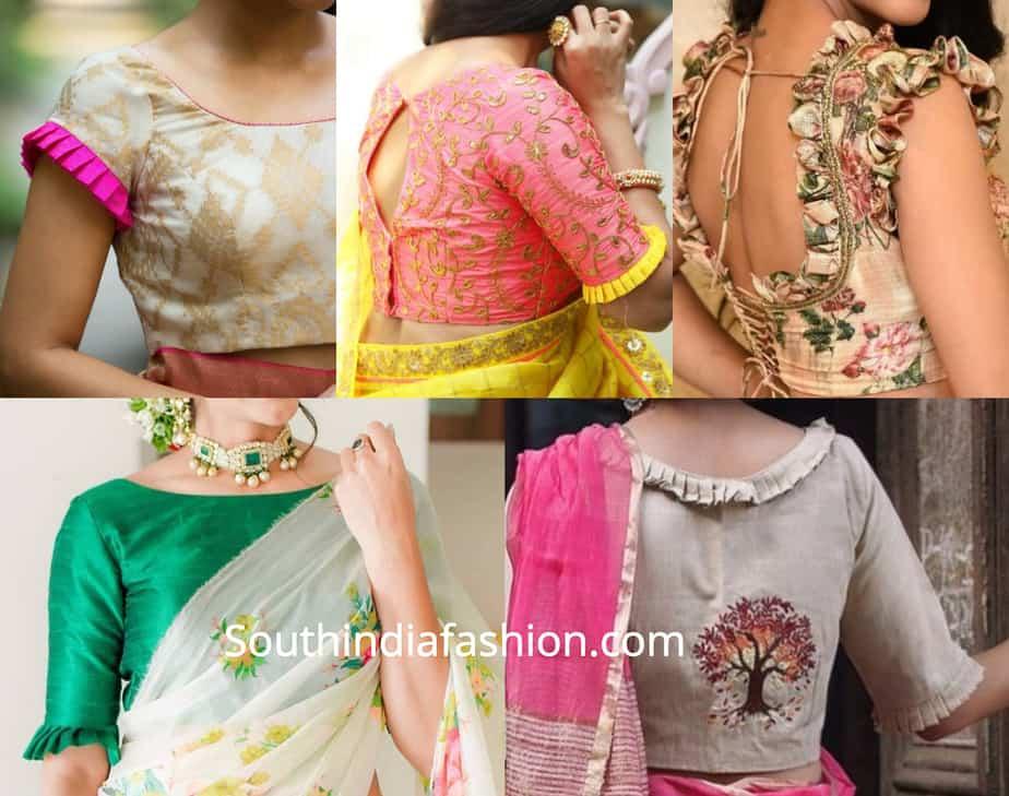 frill saree blouse designs