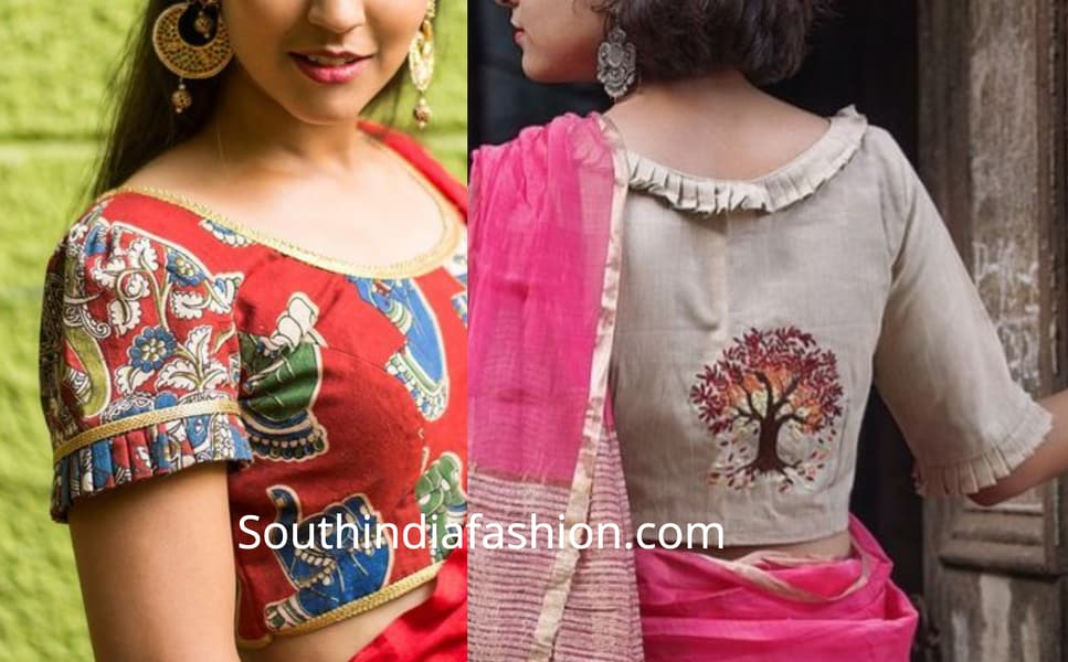 frill neck blouse designs