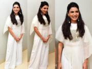 Samantha Akkineni in a white ensemble for Oh Baby Success Meet