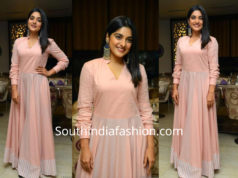 Niveda Thomas in a pink anarkali gown
