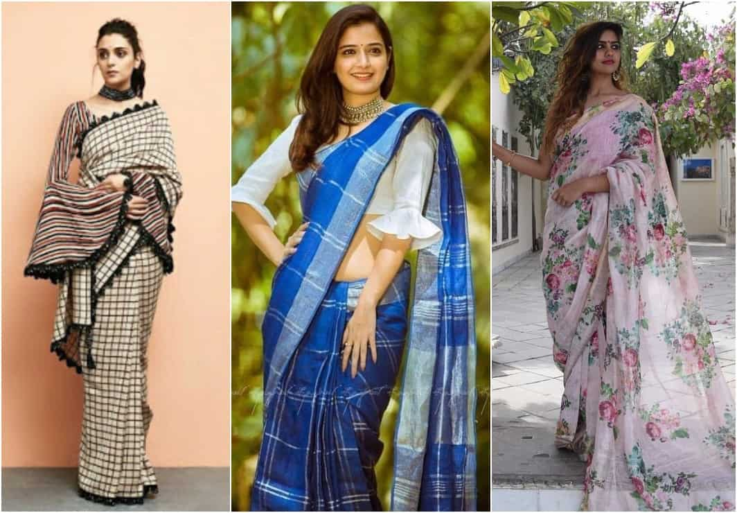 How to Style Cotton Saree & Linen Sarees for Party Look