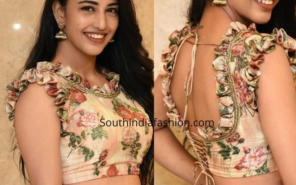 Saree Blouse design with frills detailing