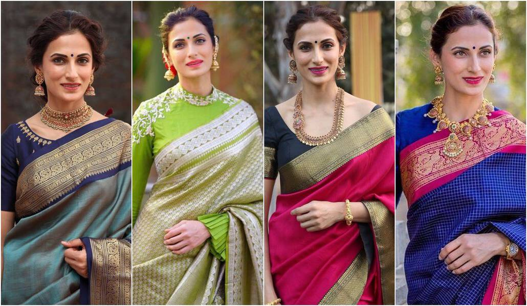 shilpa reddy in kanjeevaram silk sarees