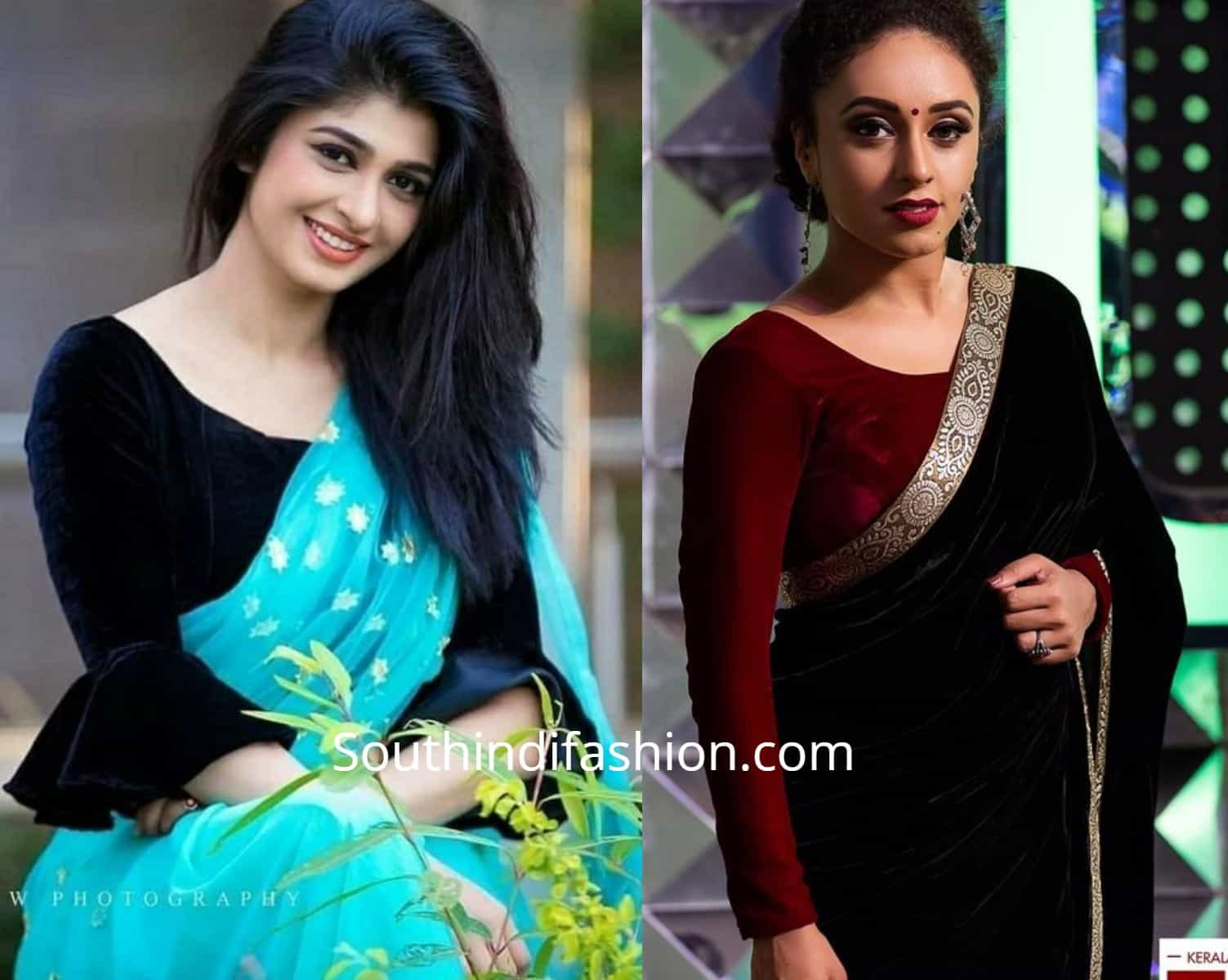 Stylish Velvet Saree Blouses
