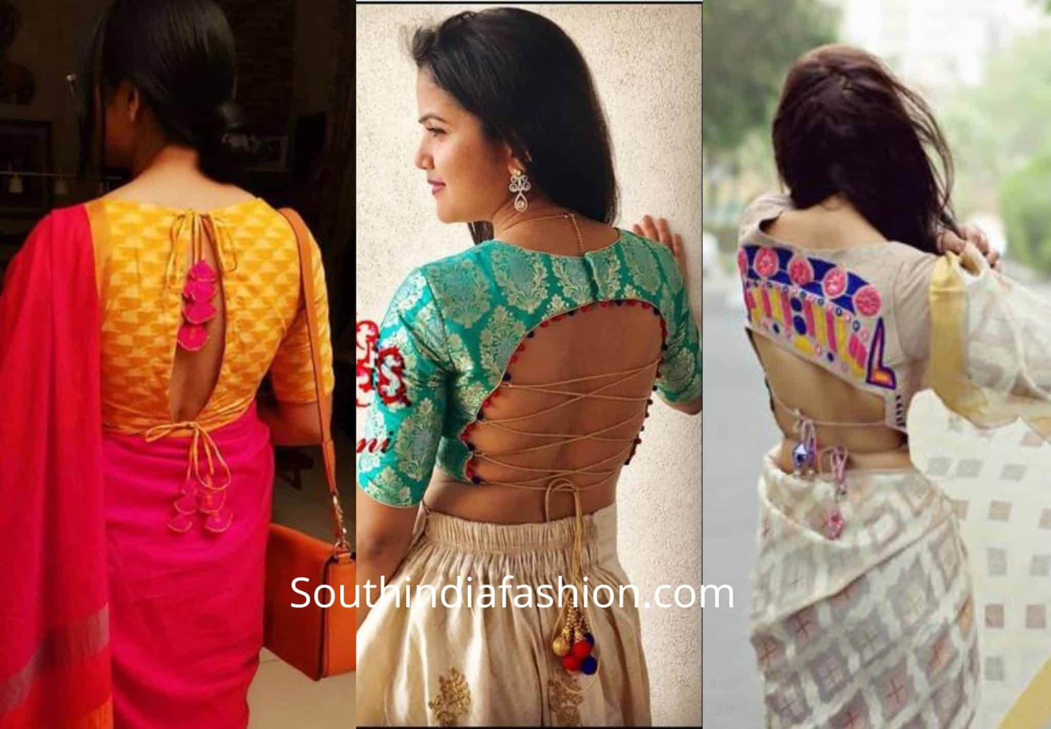Tie Cord Saree Blouse Designs