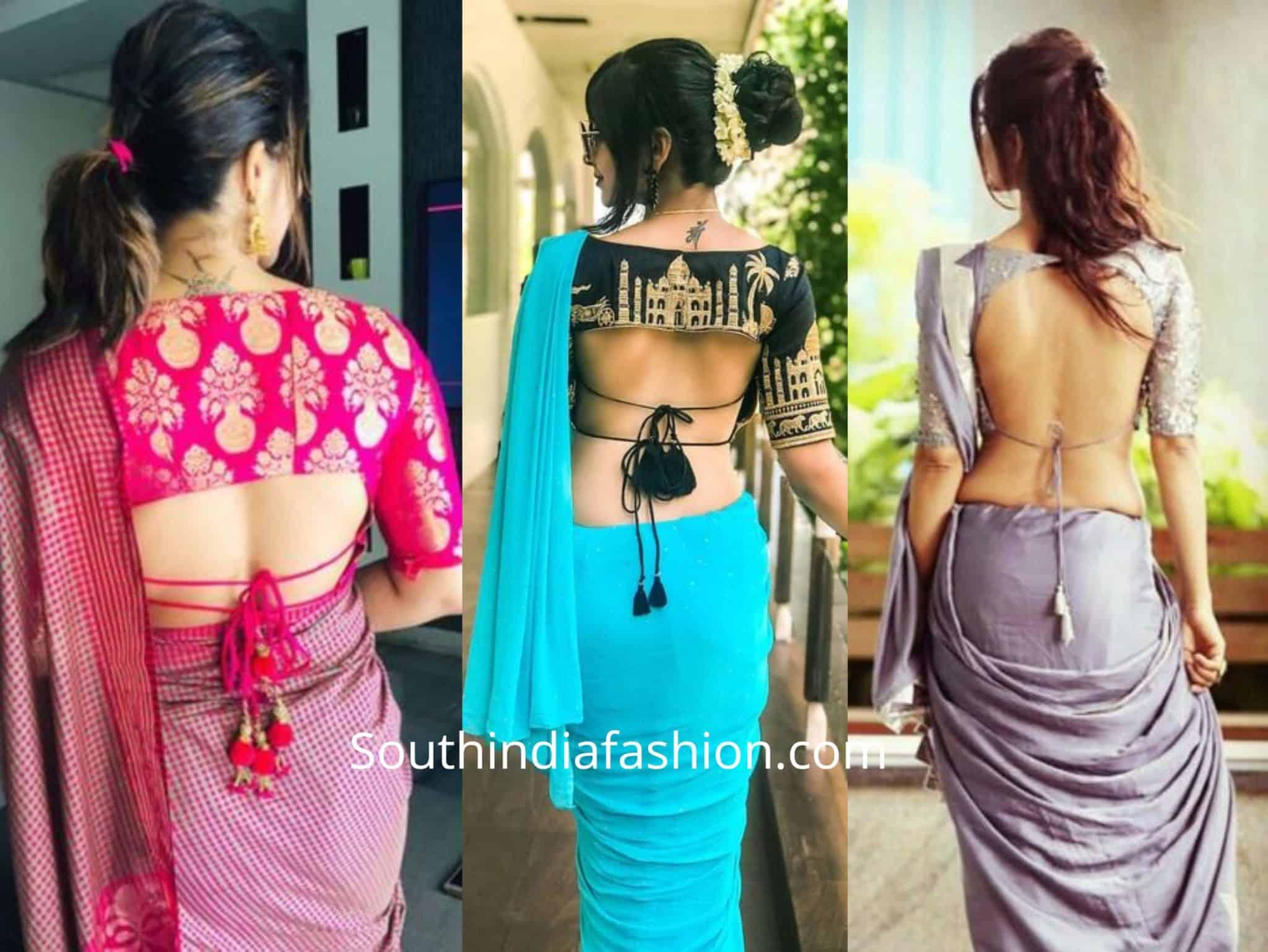 Tie Cord Saree Blouse Designs