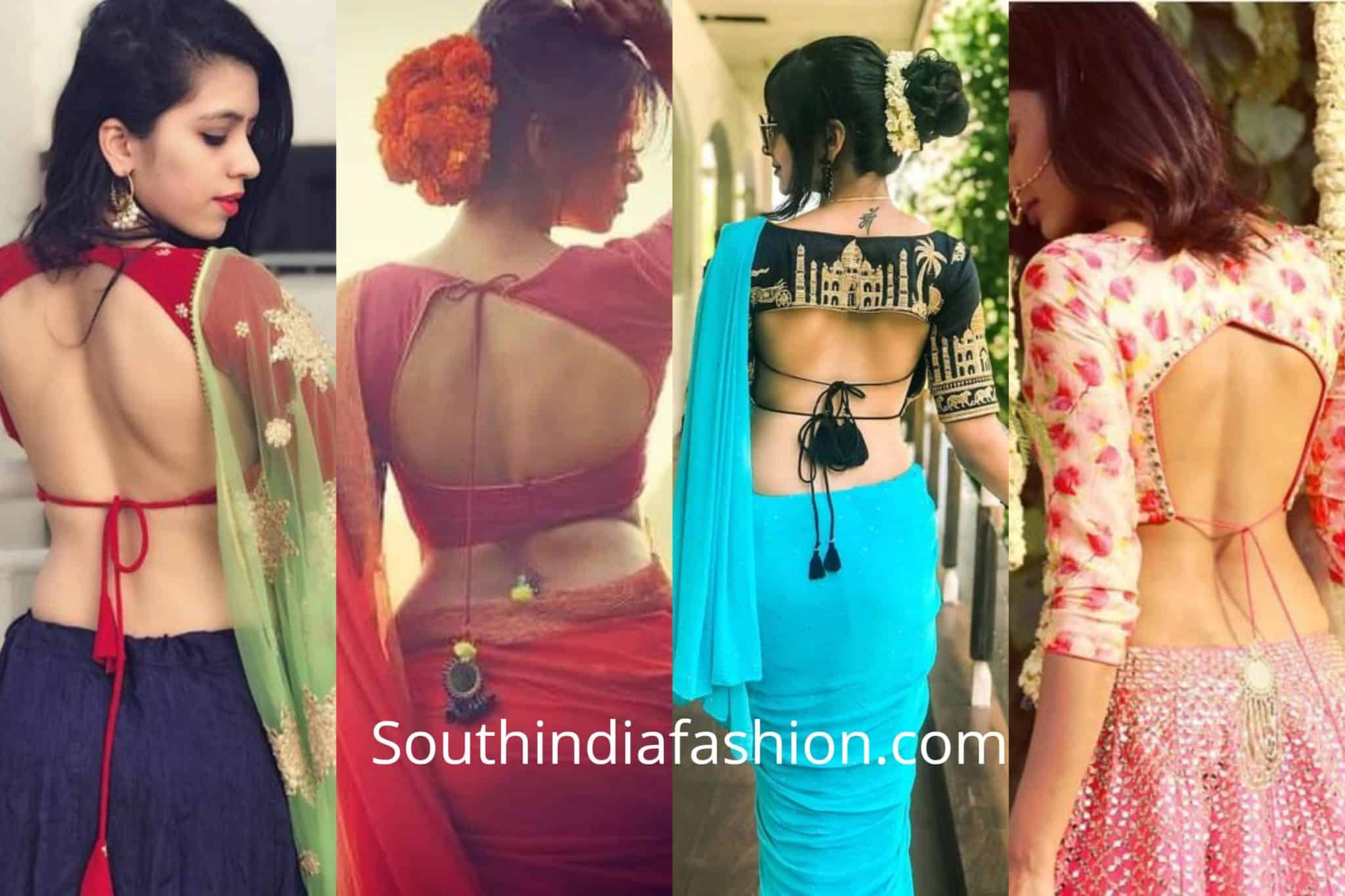 Back Knot Saree Blouse Designs
