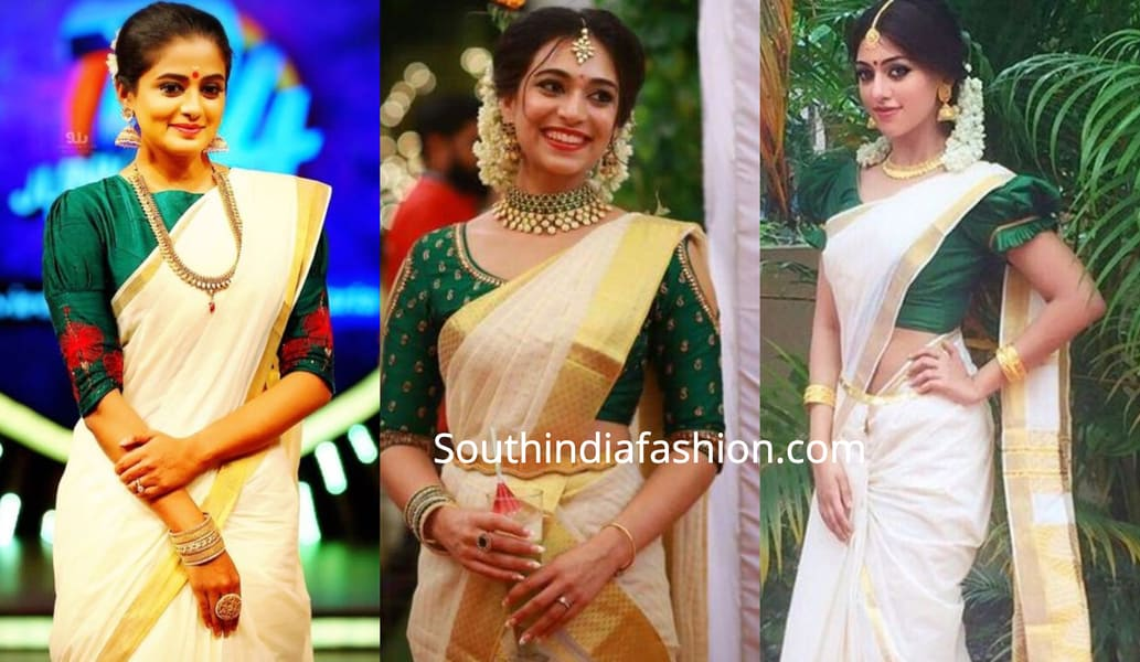 blouse designs for onam saree