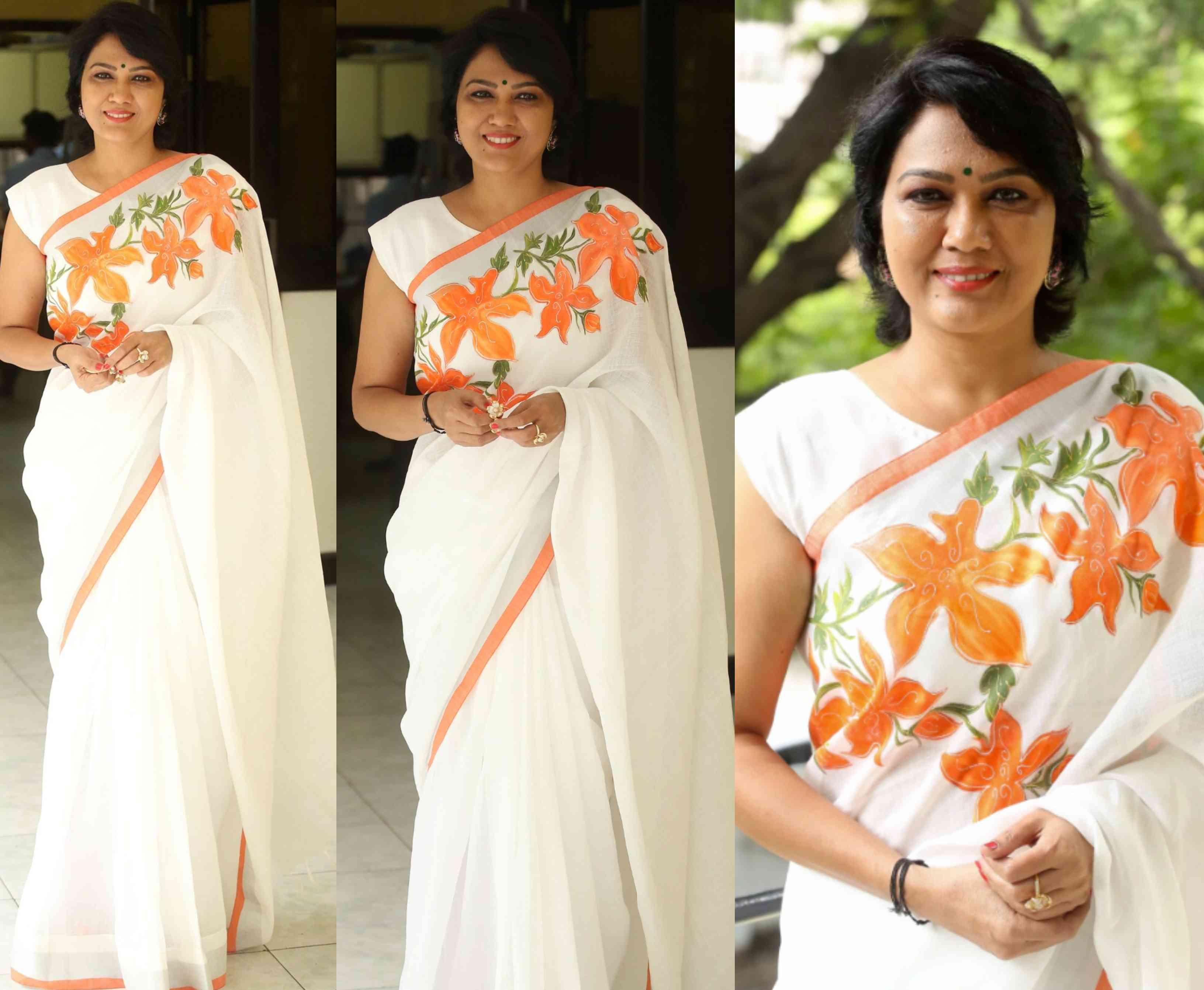 hema white saree