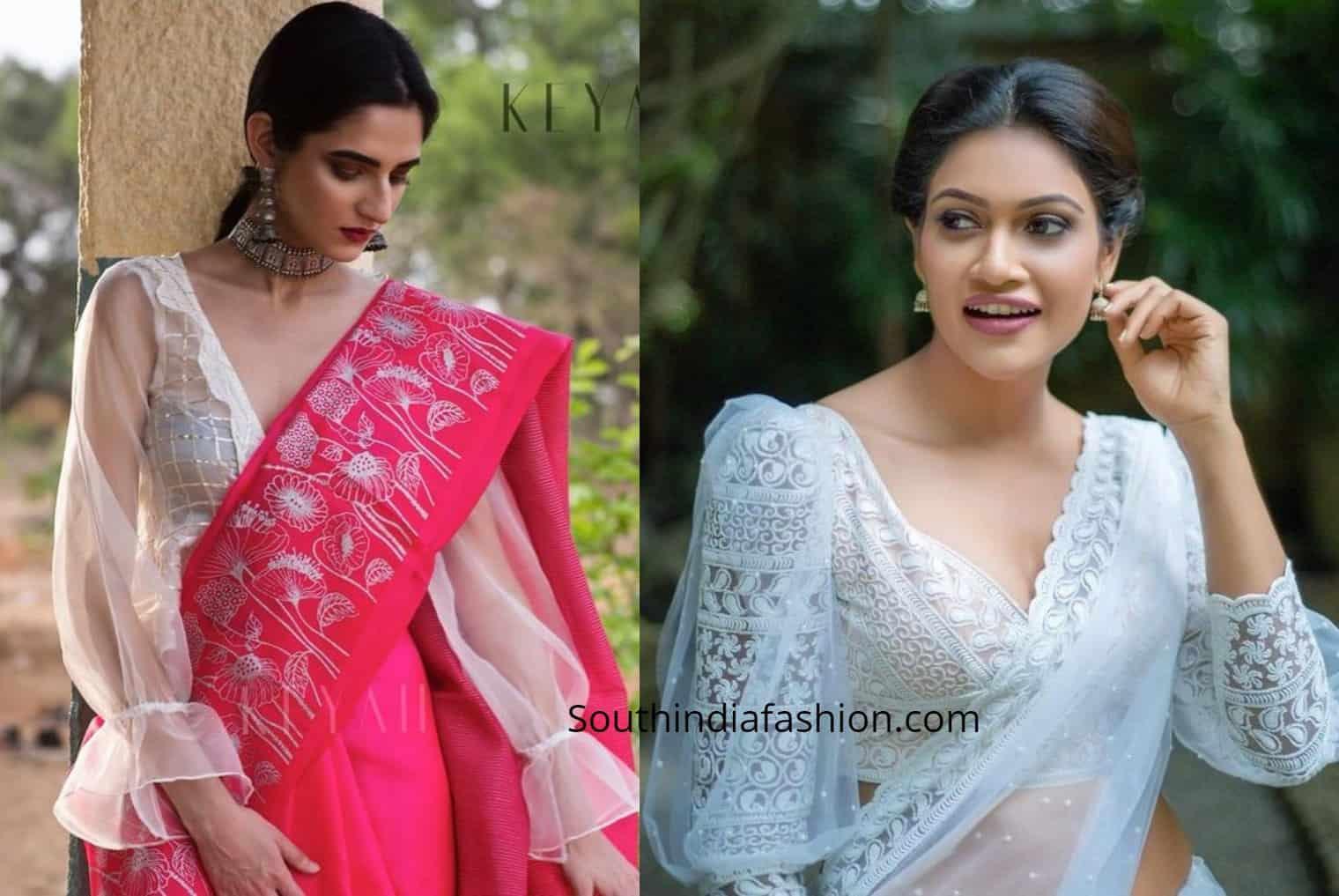 latest saree blouse sleeve designs