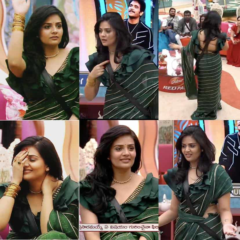 Sreemukhi in a green saree – South India Fashion
