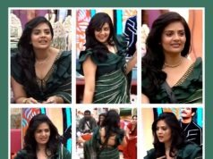 sreemukhi green saree bigg boss (1)