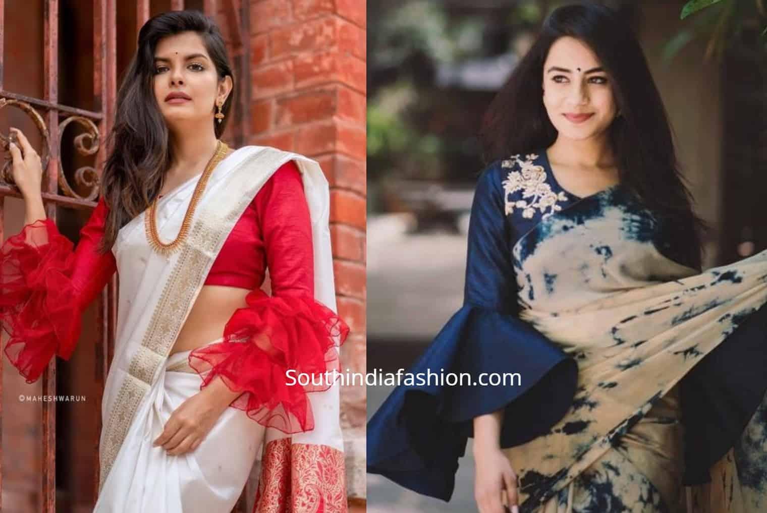 stylish saree blouse sleeve designs