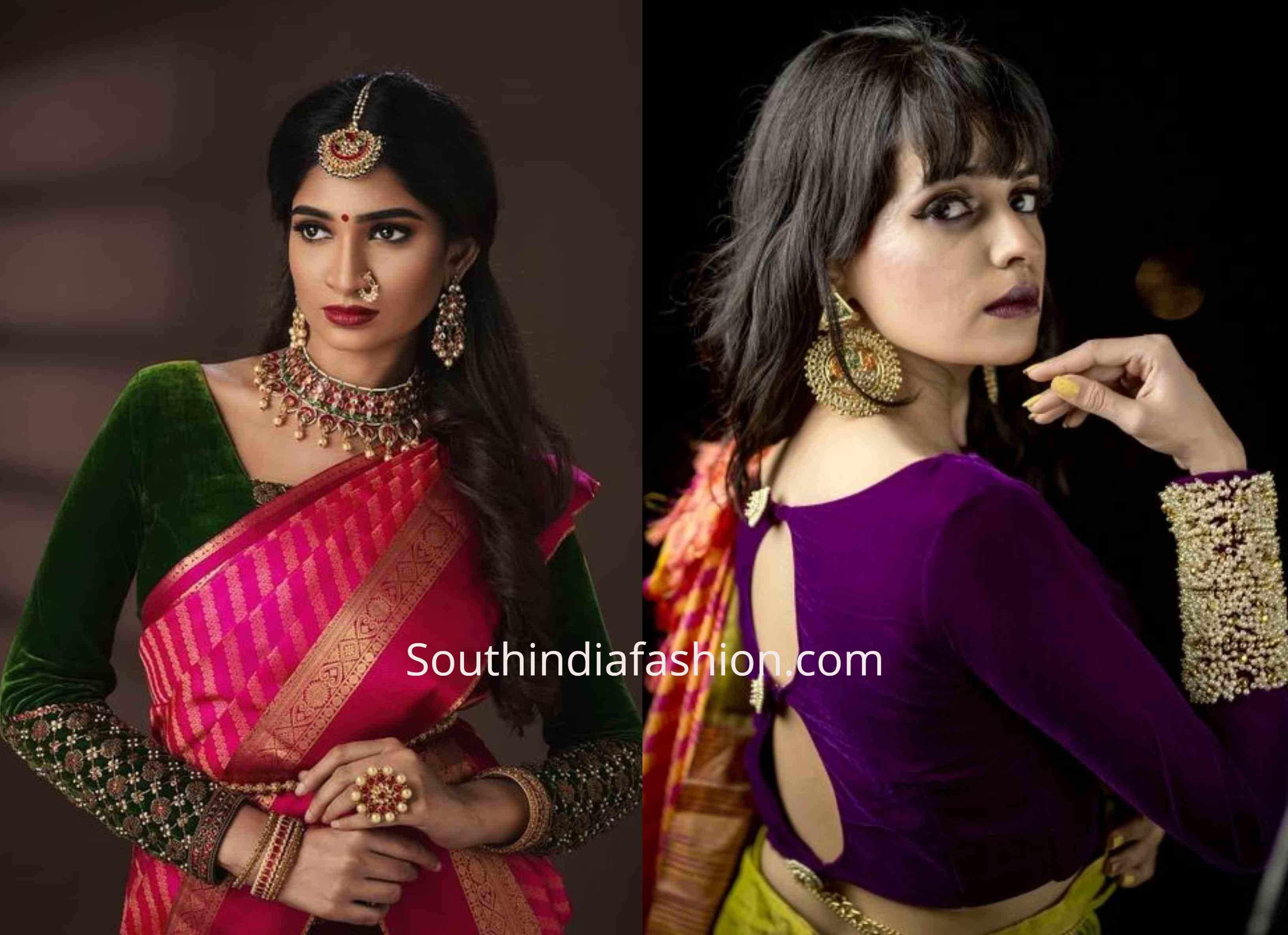 velvet saree blouse designs (5)