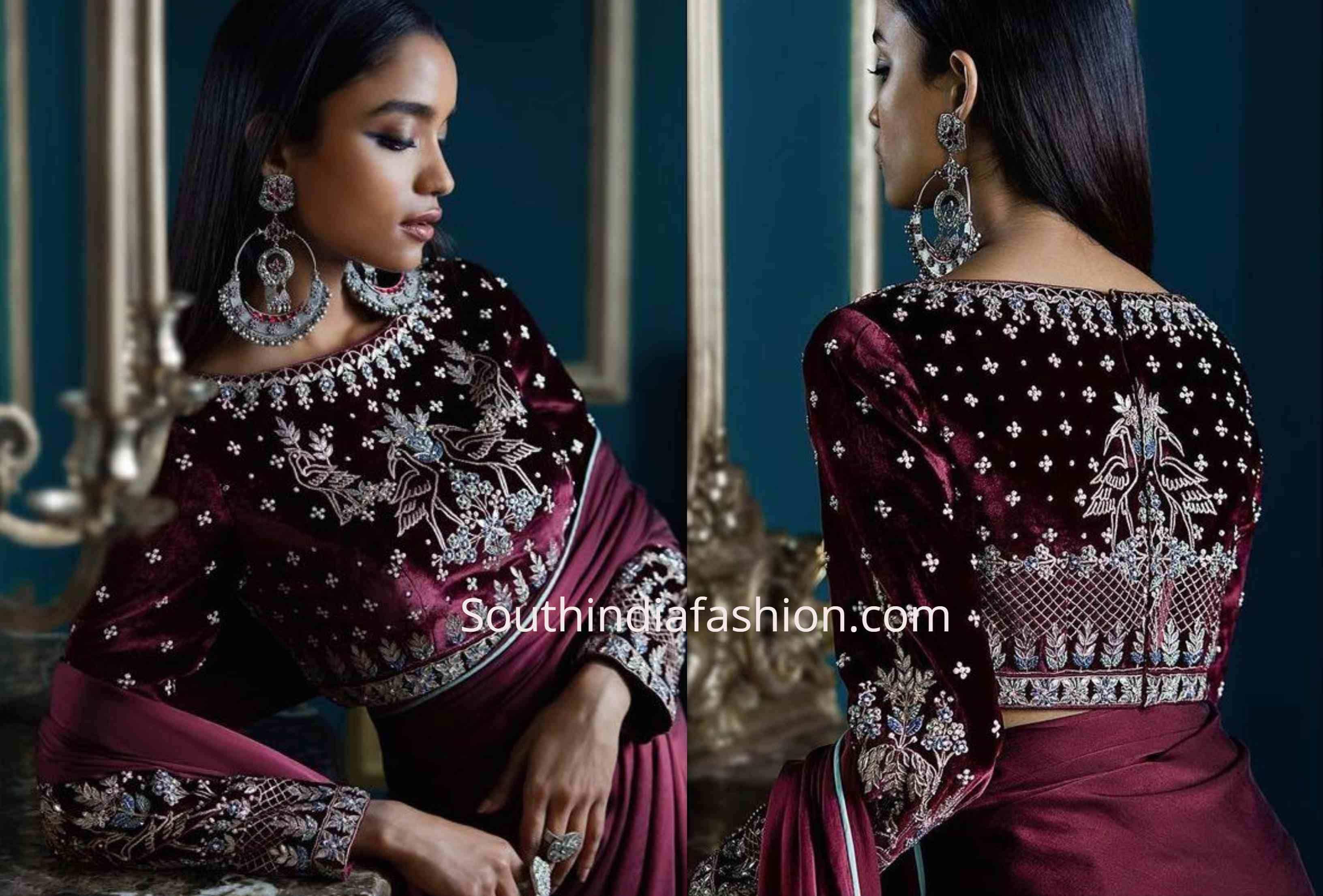 velvet saree blouse designs (3)