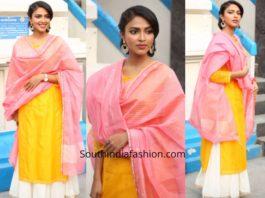 Amala Paul in a kurta lehenga at a movie launch
