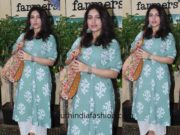 Bhumi Pednekar in a kurta palazzo at Farmers Cafe Mumbai
