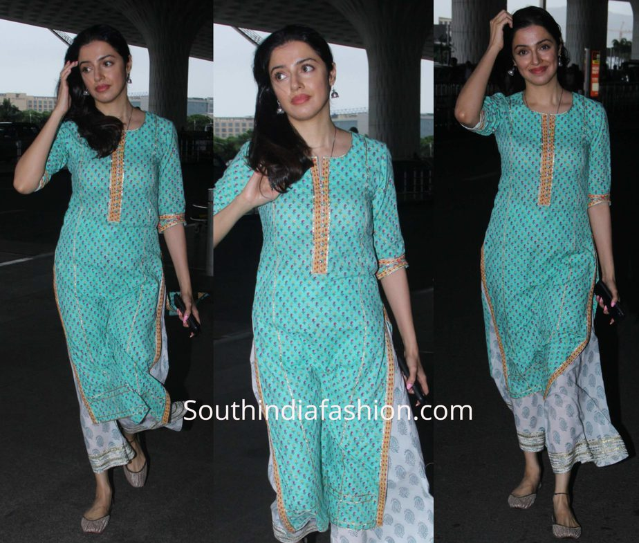 Divya Khosla Kumar in a kurta palazzo at the airport