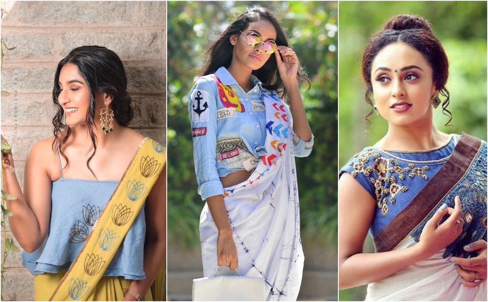 denim blouse with saree