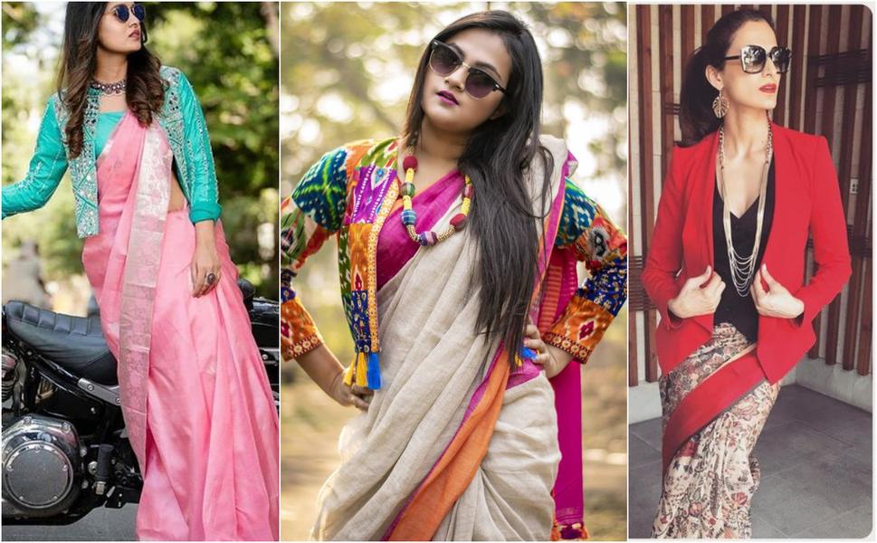 Indo Western Saree Blouse Designs