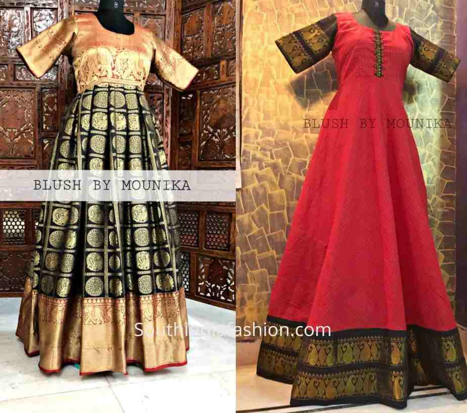 LONG EVENING GOWNS MADE from old silk sarees