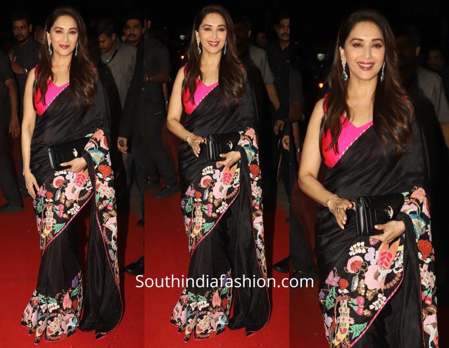 Madhuri Dixit in Aisha Rao saree for Hum Aapke Hain Kaun 25th anniversary celebrations