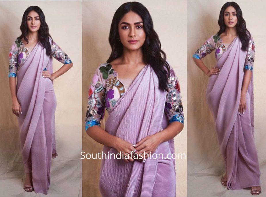 Mrunal Thakur in Aisha Rao saree for Batla House movie promotions