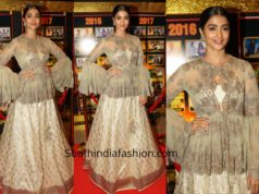 Pooja Hegde in a lehenga peplum top at Sakshi Excellence Awards 2019