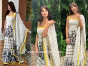 Rhea Chakraborty in Sukriti and Aakriti sharara suit for the Lit fest