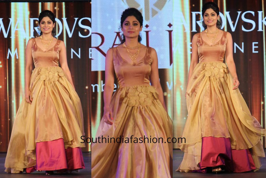Shamita Shetty in a gown at Swarovski Gems Fashion Show