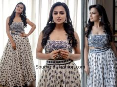 Shraddha Srinath in a lehenga by The Deccan Story for Nerkondapaarvai Promotions
