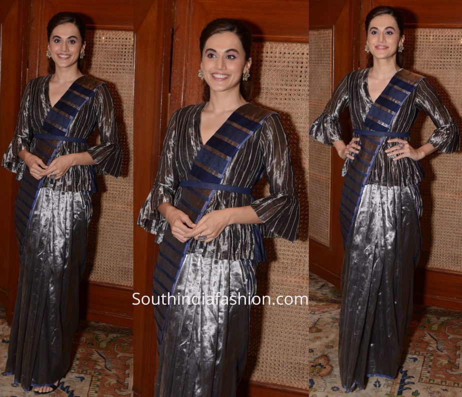 Taapsee Pannu in Amita Gupta saree for Mission Mangal Promotions