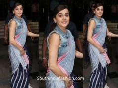Taapsee Pannu in a striped saree with a denim jacket for Mission Mangal Promotions