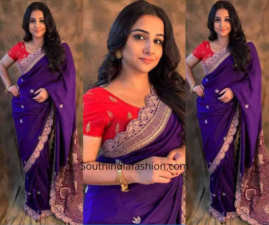 Vidya Balan in Anamika Khanna saree for Mission Mangal Promotions