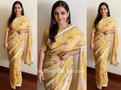 Vidya Balan in Weave in India saree for Mission Mangal Promotions