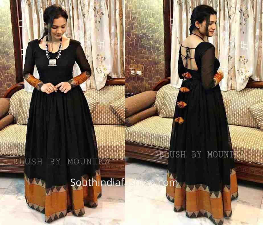 anarkali dresses made from silk sarees