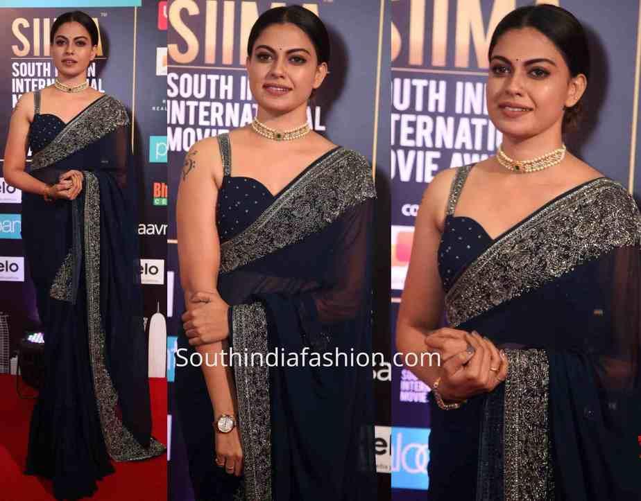 anusree navy blue saree siima awards 2019