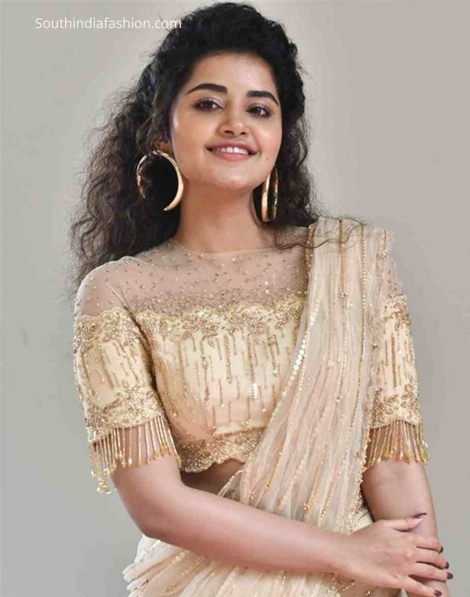 anupama parameswaran cream saree rakshasudu press meet (1)
