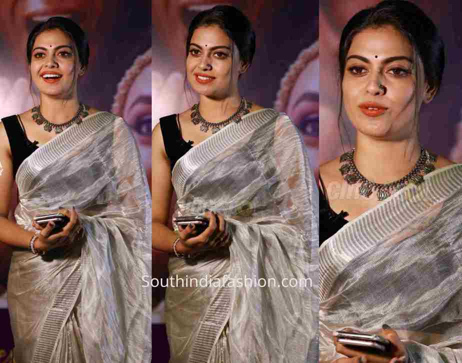 anusree nair silver tissue saree Queen of dhwayah 2019