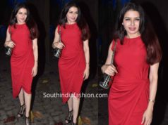 bhagyashree red dress at evaru screening