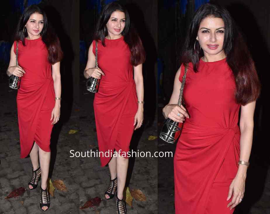 bhagyashree red dress at evaru screening