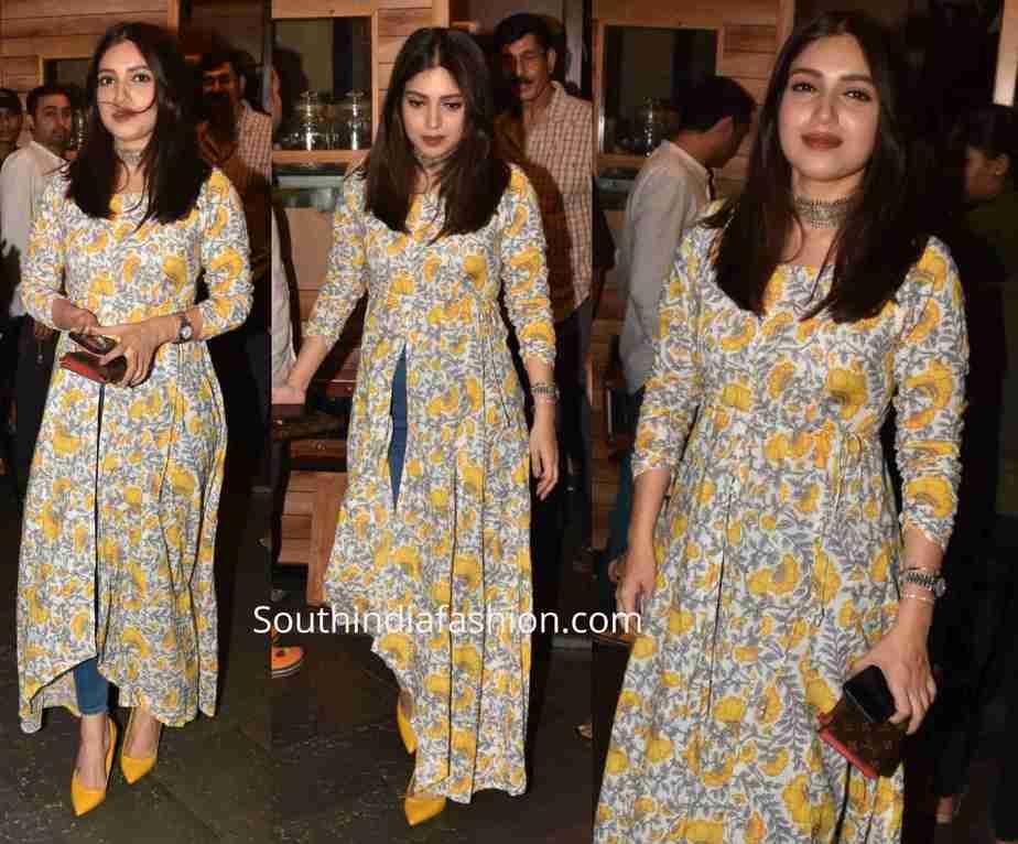bhumi pednekar floral slit kurta with jeans (1)