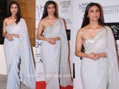 daisy shah in blue saree by manish malhotra at lakme fashion week