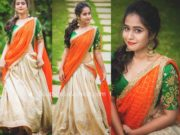 deepthi sunaina half saree